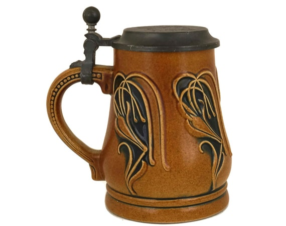 Gerz Art Nouveau Stoneware Stein, Vintage German Beer Mug with Pewter Lid, Jugendstil Ceramic Tankard