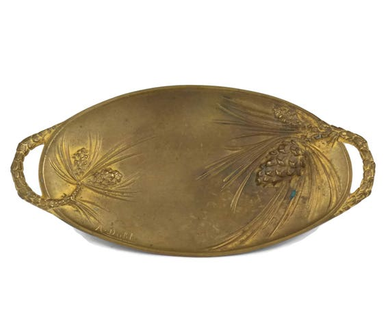 Antique French Bronze Ring Tray with Pine Cones and Needles, Art Nouveau Bronze Oval Coin Dish