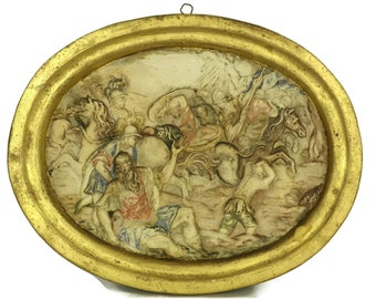 The Conversion Of Saint Paul. Antique Chalkware Religious Wall Hanging. French Catholic Saint Christian Art and Gifts.