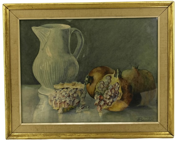 Still Life Watercolor Painting with Pomegranates and Water Pitcher, Original Vintage French Framed Art, Kitchen Wall Decor