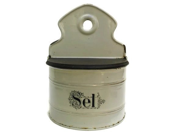 Antique French Enamel Salt Box, Rustic Canister, Black and White Kitchen Decor