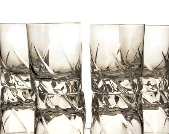 Daum Crystal Cocktail Glasses Set of 4, Vintage French Barware and Bar Gifts For Him