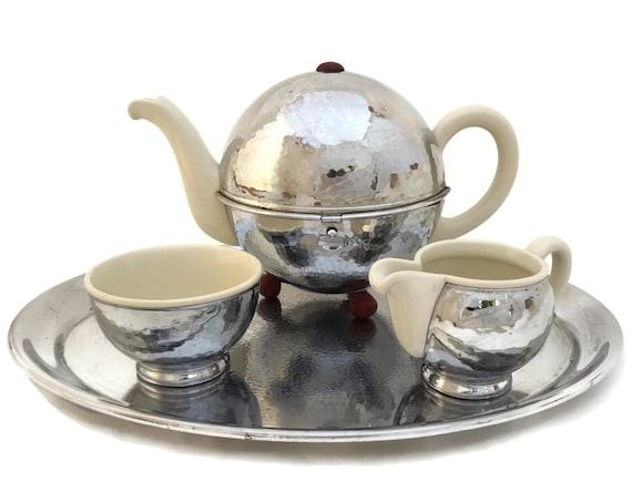 Bauhaus Design Tea Set by WMF, Art Deco Silver Tone Teapot, Sugar Bowl and Creamer with Serving Tray
