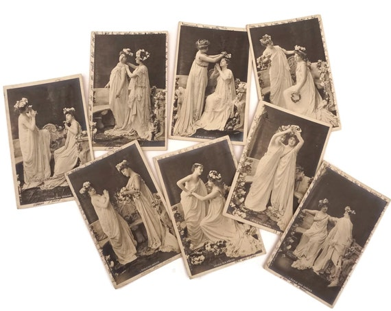 Antique Graces Postcards Collection, French Belle Epoque Lady Portraits Cards, L'Ecole Des Graces