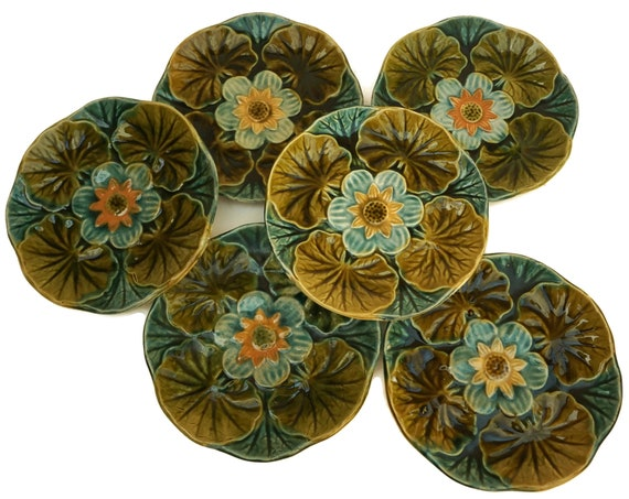 Wasmuel Majolica Water Lily Plates, Set of 6
