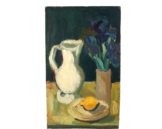 Blue Iris Still Life Art with Lemon and Pitcher,Original French Flower Bouquet in Vase Oil Painting