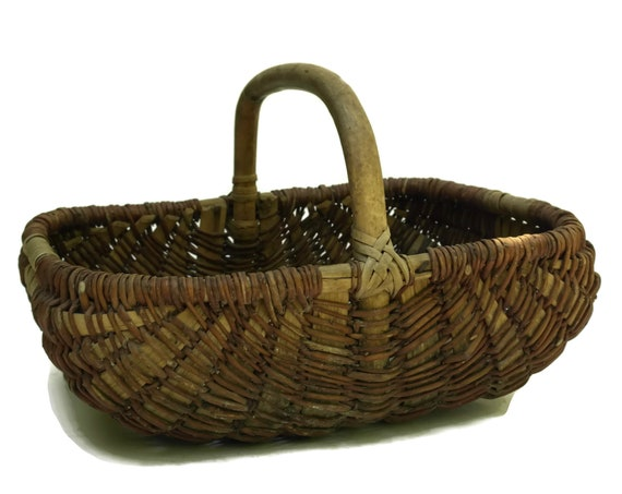 French Vintage Hand Woven Basket, Rustic Country Kitchen Decor, Gardening Gift