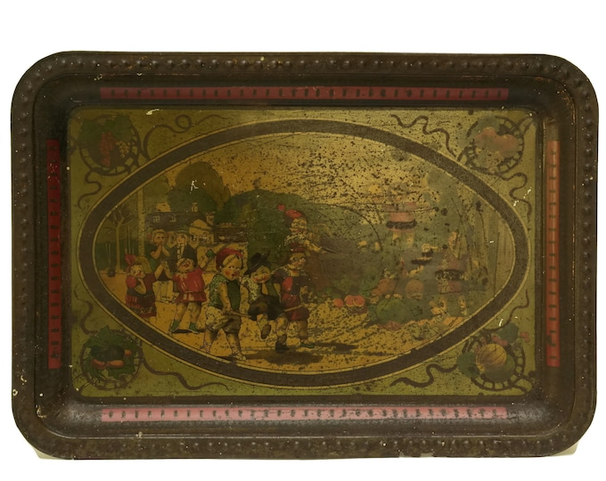 French Tole Antique Tin Tray with Litho Print Childrens Illustration. Shabby French Kitchen Decor and Gifts. Serving Tray and Platter.