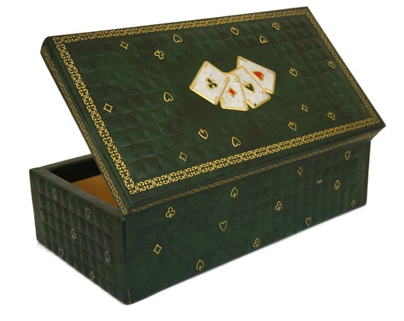 Faux Green Leather Card Box, Vintage Bridge Playing Cards Deck Storage