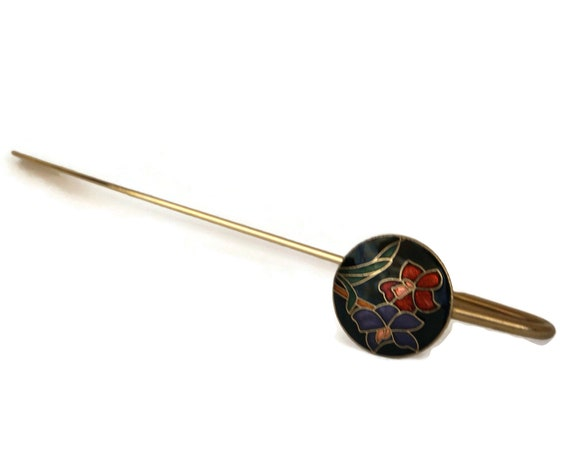 Brass and Cloisonne Flower Bookmark with Enamel Iris Medallion, Vintage Book Lover Gift