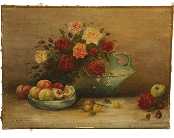 Antique Rose Bloom and Fruit Still Life Painting on Canvas