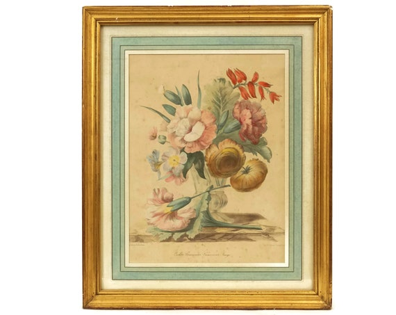 Antique Flower Art Print Engraving in Gold Frame by Grobon Freres, Romantic French Wall Hanging Decor, Floral Still Life
