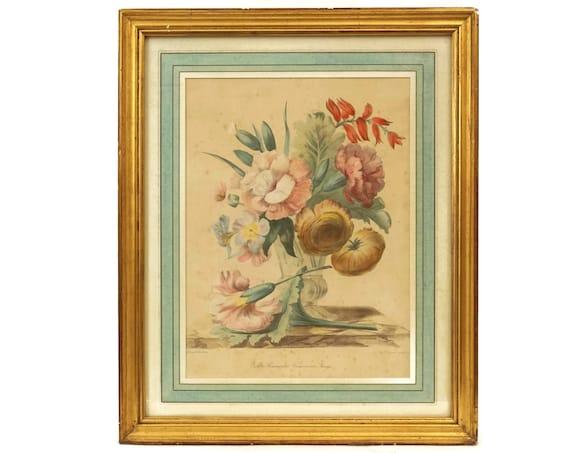 Antique Flower Art Print Engraving in Gold Frame by Grobon Freres