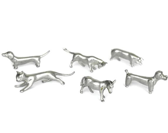 Set of 6 Swiss Pewter Farm Animal Figurine Knife Rests.