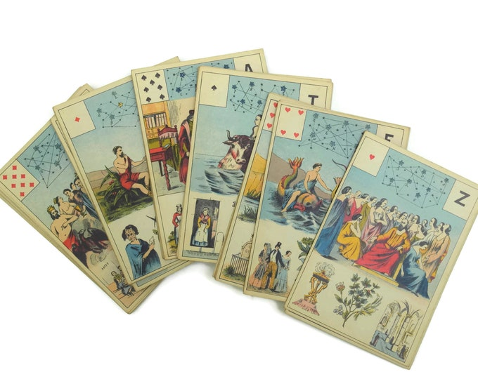 Lenormand Prophecy Tarot Card Deck. Fortune Telling Cartomancy Cards. Grand Jeu de Mlle Lenormand by B.P Grimaud.