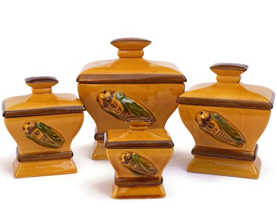 French Pottery Kitchen Canister Set with Cigale Figurine