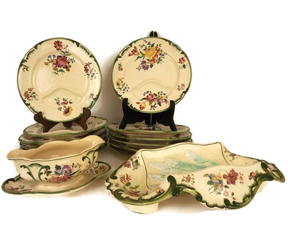 French Asparagus Plate and Server Set for 12 with Sauce Boat, Antique Longchamp Dinner Service with Spring Flower Decor, Asparagus Cradle