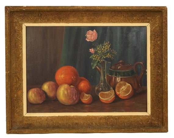 Rustic Still Life Painting with Brown Teapot, Oranges, Apples and Pink Roses, Original Vintage French Art