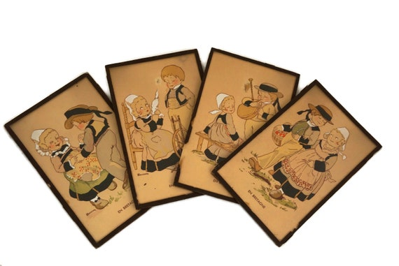 French Breton Souvenir Postcards Illustrated by Renaudin