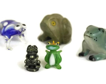Miniature Frog Figurines. Set of French Vintage Collectible Toad Figures. Glazed Ceramic, Carved Stone and Blown Glass Frog Collection.