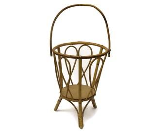 Vintage Bamboo Sewing Basket.