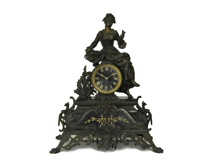 Antique French Mantle Clock with Lady Figurine. 19th Century Figural Clock with Flower Seller. French Home Decor.