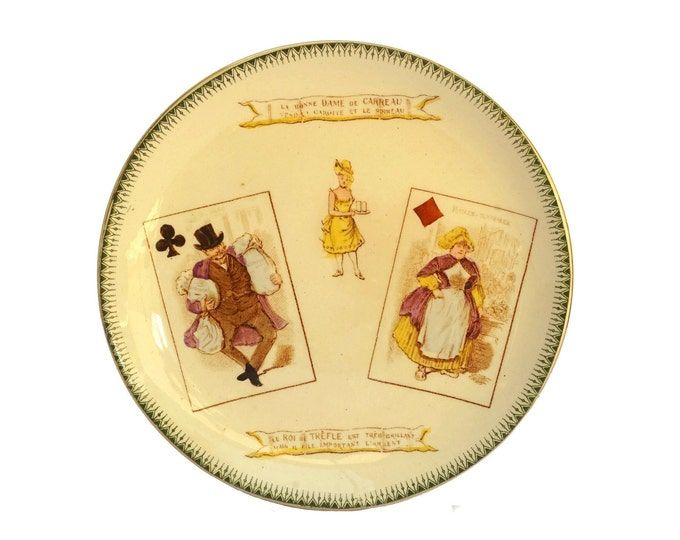 Antique Choisy Le Roi Ceramic Plate with Playing Cards, King of Clubs and Queen of Diamonds, French Faience Wall Plate