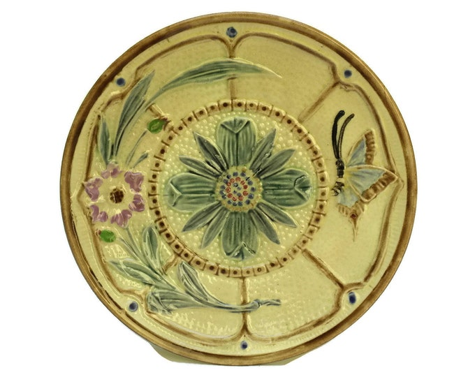 Antique Majolica Butterfly and Flower Plate. Hand Decorated Wasmuel Ceramic Wall Plate.