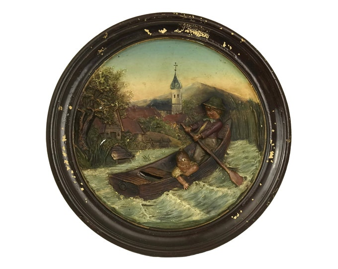 Pottery Wall Plate with Children in Boat by Bernhard Bloch, Antique 3D Relief Molded Ceramic Hanging Plaque