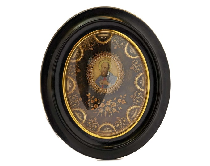 French Antique Paperolle Reliquary with Saints Relics and Miniature Portrait of Saint Peter.