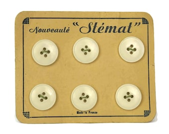 Vintage Button Card. Collectible White Sewing Buttons with French Advertising. Craft Room Decor. Gifts For Her. Sample Card.