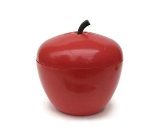 French Vintage Red Apple Ice Bucket. 1970s Ice Bucket. Retro Barware. Red Plastic Fruit Ice Bucket. Giant Fruit Bowl.