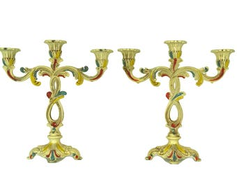 Pair of Candelabra. Vintage Enamel 3 Branch Candlestick Holders. Florentine Rococo Home and Table Candle Decor.