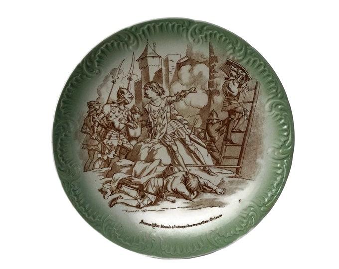 Saint Joan of Arc Transferware Plate, Jeanne d'Arc Home Wall Decor