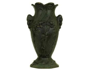 French Antique Art Nouveau Vase. Cast Iron Garden Urn Vase. Gardening Gift.