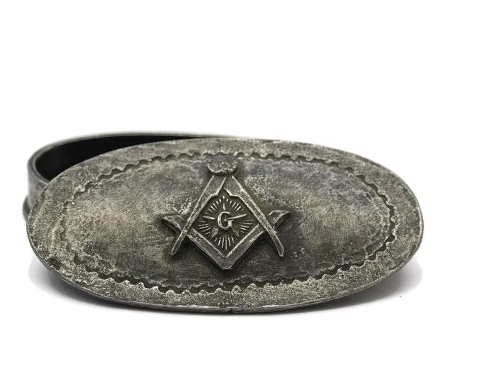 Vintage Masonic Jewelry Box. French Pewter Free Mason Trinket Box with Masonic Symbols. Gifts for Him.