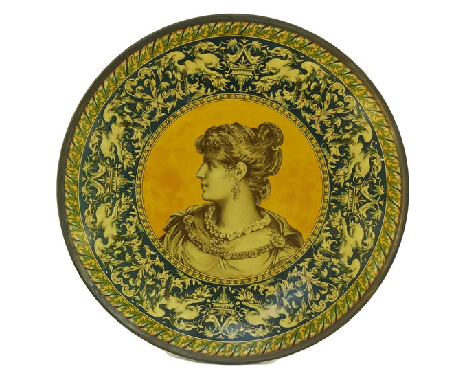 Classical Greece Antique Litho Tin Charger Plate with Lady Portrait. Victorian Art Wall Decor. Lithograph Cabinet Plate.