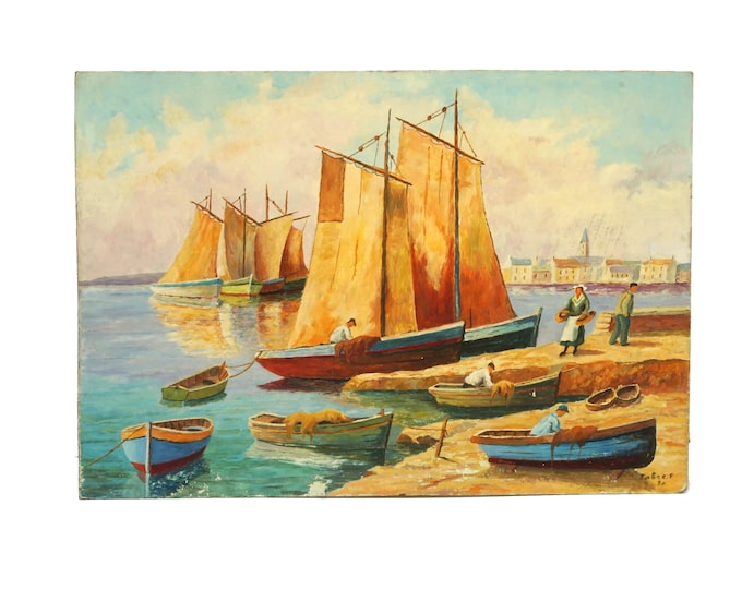 French Fishing Boat and Village Painting, Coastal Decor and Art