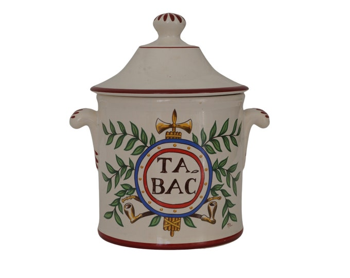 French Revolution Souvenir Tobacco Humidor Jar by St Clement, Ceramic Canister