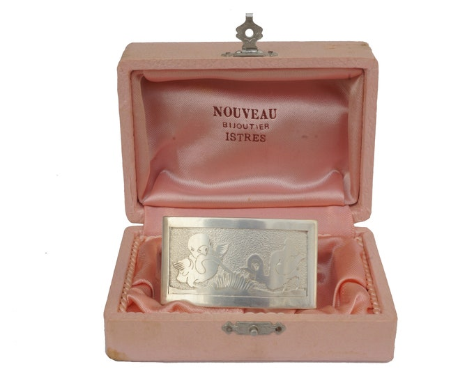 French Silver Kids Napkin Ring with Engraved Chicks, Newborn and Christening Gift