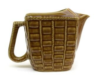 Vintage Ceramic Basket Weave Pitcher. Rustic French Wine Jug. Glazed Ceramic Water Pitcher. Rustic Kitchen Decor.