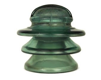 Large Green Glass Insulator. French Vintage Industrial Decor Electric Insulator. Curiosity Cabinet Gift For Geek.