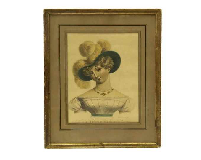 Romantic Antique French Engraving, Framed Etching of The Young Deutch Girl by Bosselman