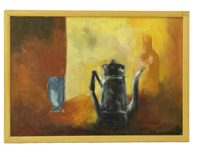 Modernist Still Life Oil Painting, Abstract Kitchen Wall Art by French Artist Pierre Chauvet