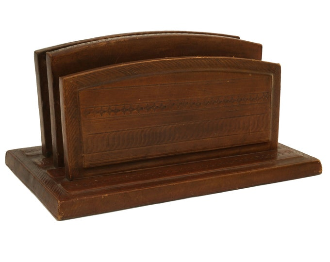 Tooled Leather Mail Organizer and Letter Holder, Mid Century French Desk and Office Decor