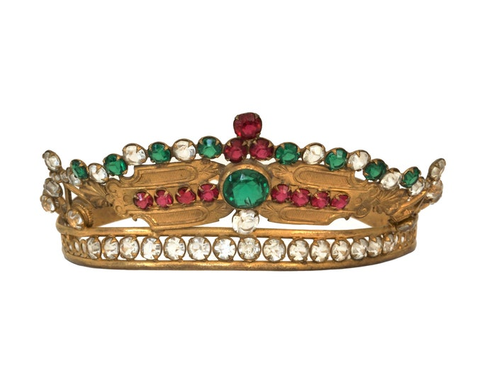 Antique French Jeweled Crown, 19th Century Saint Statue Tiara