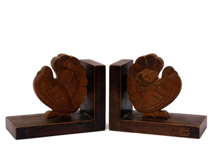 French Vintage Art Deco Bird Bookends. Hand Carved Wood Turtledove Figure Book Ends Signed by Povy. Office Decor.