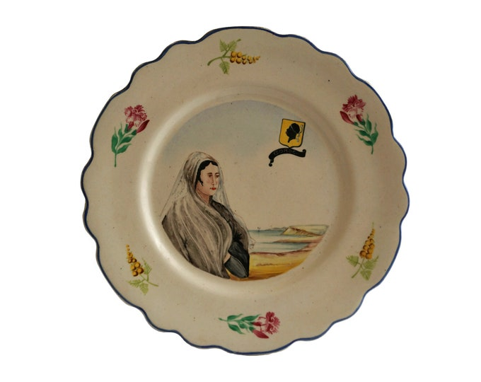 French Lady Portrait Wall Plate, Hand Painted Corsica Souvenir Art Pottery