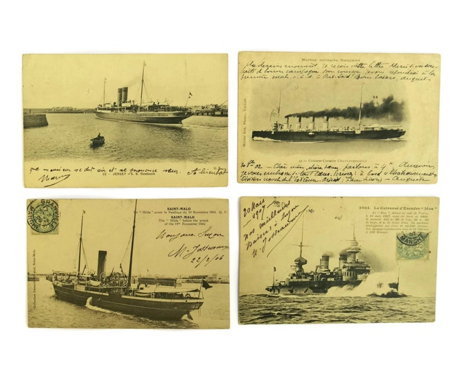 French Antique Ship Postcards. Antique Maritime Collectibles. French Navy Warships and Sailing Boat Post Cards.