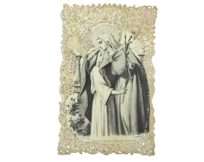 Virgin Mary Antique Card.
